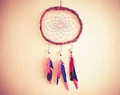 Dream Catcher - Hipster Joy - With Hand-Painted Feathers and Pink&Blue Nett - Hippie, Home Decor, Mobile
