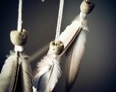 Dream Catcher - Antique Stones - With Natural Pigeon Feathers, White Drop-Formed Frame and White Nett - Home Decor, Mobile