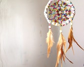 Dream Catcher - Summer Rainbow - With Natural Brown Feathers and Rainbow Colorful Crochet - Home Decor, Mobile