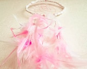 Dream Catcher - Roze Light - With Pure Roze and White Feathers, White Frame, Roze Nett - Home Decor, Mobile