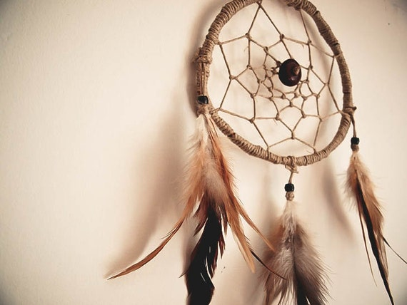 Dream Catcher - Brown Indian - With Natural Brown Feathers, Brown Frame and Nett - Home Decor, Mobile