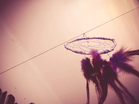 Dream Catcher - Violet Hippie Rain - With Rock-Crystal, Natural Purple Feathers, Violet Frame, and Nett - Home Decor, Mobile