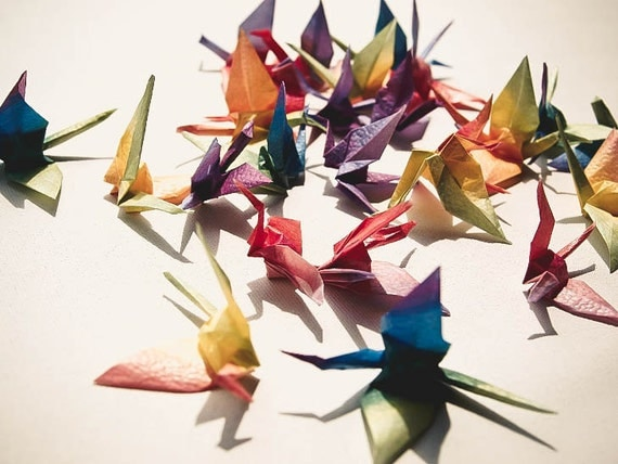 Origami Birds - 25 piece Rainbow Colorful Origami Cranes - Mobile, Home Decor, Paper Goods
