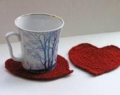 Mug rugs - Hand-knitted Wine Red Hearts