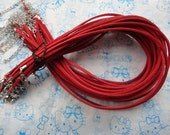 100pcs 3mm 16-18inch adjustable red  suede leather necklace cord with white k lobster clasp