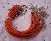 30pcs 3mm 7-9 inch adjustable orange suede leather bracelet with white k  fitting