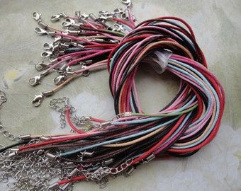 21pcs 1.5mm 17-19 inch adjustable assorted color(7colors) waxed cotton necklace cord with lobster clasp