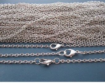 SALE--100 pcs 27 inch 2x3mm silver plated necklace chain with lobster clasp
