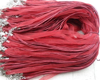 Sale 50pcs 17-19inch dark red ribbon necklace cord