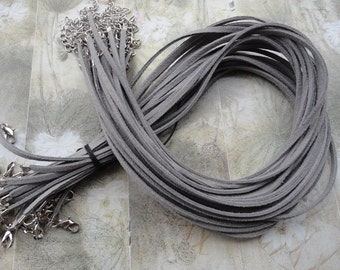 100pcs 3mm 16-18inch adjustable gary suede leather necklace cord with white k lobster clasp
