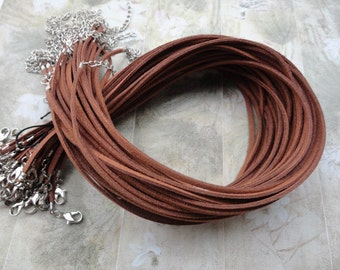 45pcs 3mm 16-18inch adjustable light brown suede leather necklace cord with white k lobster clasp