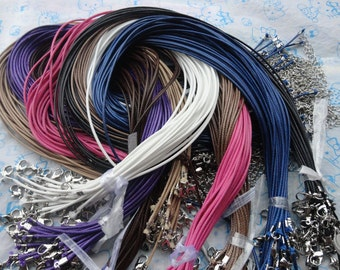 64 pcs 1.5mm 16-18 inch adjustable assrted color(8colors) korea wax snake string necklace cord with lobster clasp