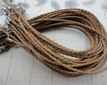 50pcs 16-18 inch adjustable 3mm light brown faux braided leather necklace cord with white k fittings
