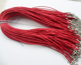 15pcs 17-19 inch 1.5mm adjustable red  waxed cotton necklace cord with lobster clasp