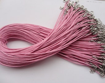 100pcs 17-19 inch 1.5mm adjustable pink  waxed cotton necklace cord with lobster clasp