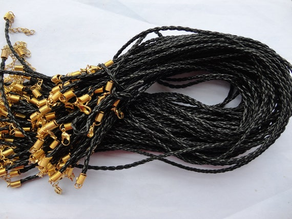 100pcs 17-19 inch adjustable 3mm black faux braided leather necklace cord with gold fittings