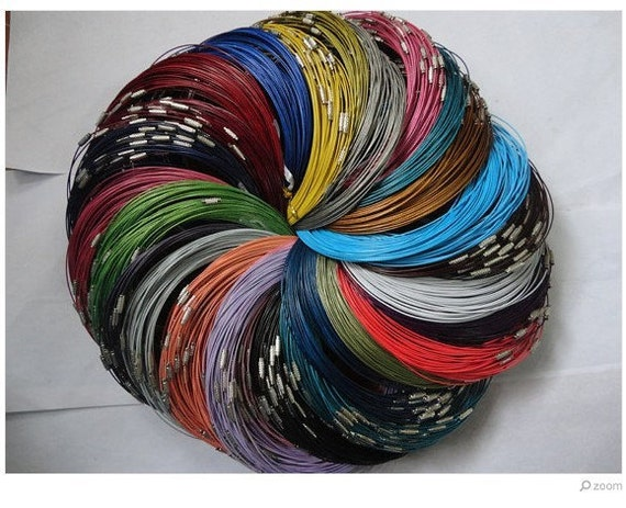Big promotion//100pcs assorted color(20colors)1.0mm 18 inch stainless steel wire necklace cord