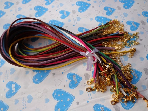 32pcs 3mm 16-18inch adjustable assorted colors(16colors)  suede leather necklace cord with gold fitting