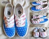 Custom American Flag Vans Authentic Canvas Sneakers / braided stripes