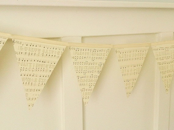 Reserved for Erica - Vintage Ephemera Sheet Music Paper Bunting Shabby Chic Home Decor Wedding Photo Prop