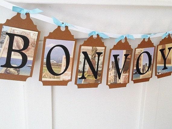 Bon voyage paper party banner for Sejour design decoration