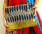 RESERVED MAYA  - Blue ikat and studded leather clutch