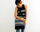 Blue ikat shoulder bag with recycled leather