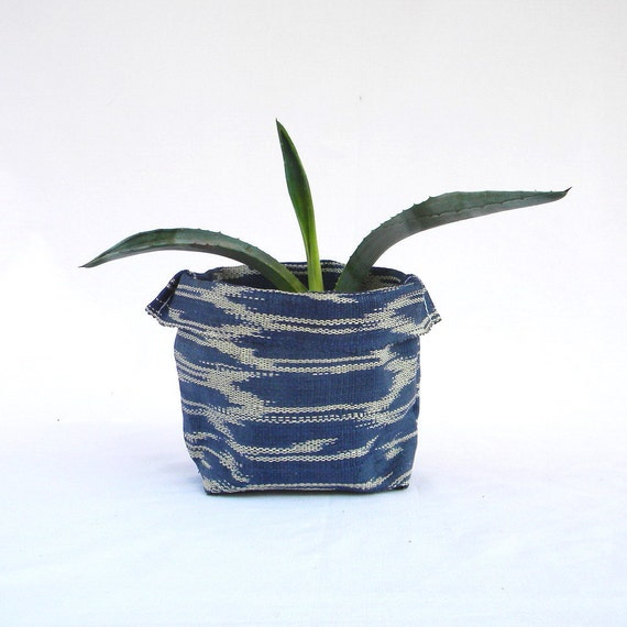 BANSOT - ikat fabric bowl in blue