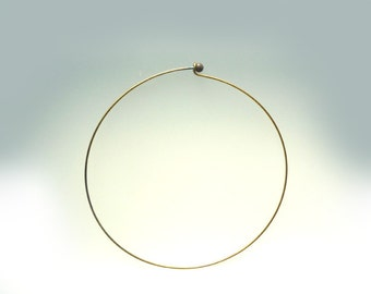 Raw Brass Unplated Wire Ring Necklace - 1 pcs - DS168