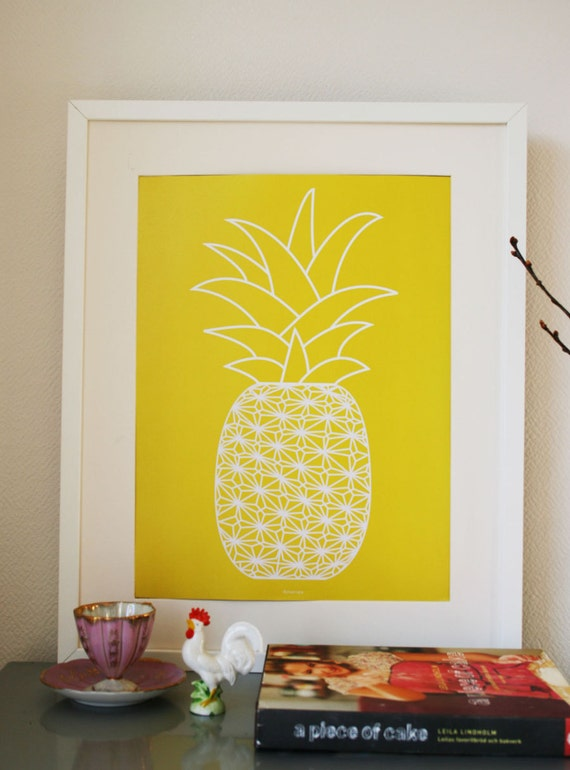 """Graphic Art Print poster of a Pineapple (yellow/white A3, 11.7"""" x 16.5"""")"""