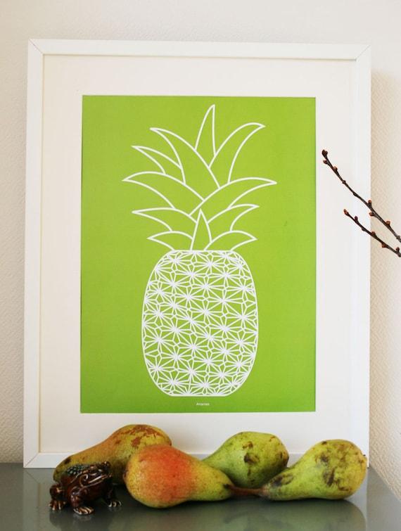 Pineapple Ananas fruit - Art Print (graphic poster moss green/white )