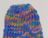 Knitted Baby Hat With Matching Booties - Super Soft Handspun Merino Wool