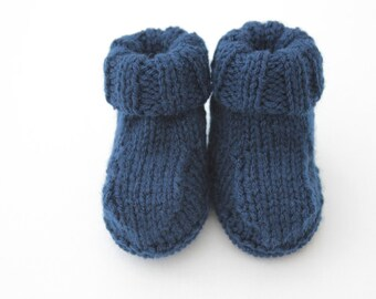 Knitted Booties - baby boy - blue