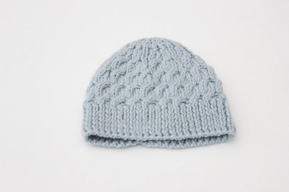 Knitted Blue Hat, Baby Boy, 0-3 months