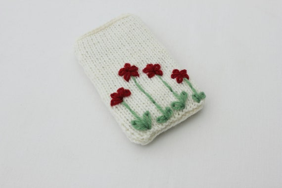 Iphone cover, knitted flowers