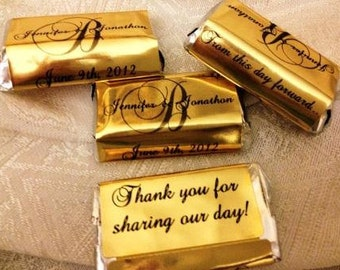 180 Monogram Gold Foil Hershey Miniatures Wedding or Party wrappers/stickers/labels (Personalized Favors) for any party/event
