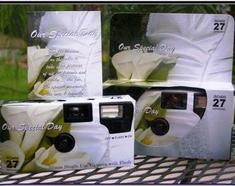 10 Calla Lily Themed disposable cameras for wedding or party, 35mm color film, 27exp 400 speed,  Favors for Candid Photos