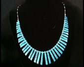 Turquoise Colored bead with liquid silver beads Necklace