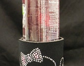 Sparkly Rhinestone Skull and Crossbones Koozie for Beer, Soda and Water Bottles