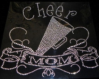 Cheer Mom with Banner Iron On Rhinestone Transfer