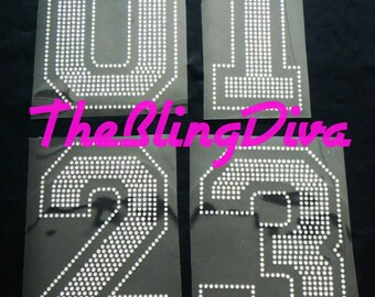 "6"" Jersey Varsity Style Numbers 0 through 9 Iron On Rhinestone Transfer Bling"