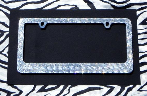 Sparkly Clear 8 Row Rhinestone Car License Plate Frame