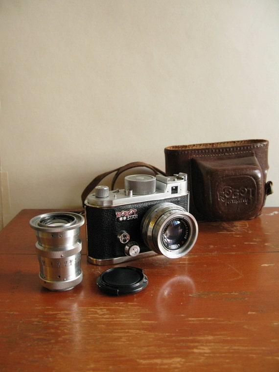Rare vintage Berning Robot Star 35mm film camera  With extra 75mm lens.