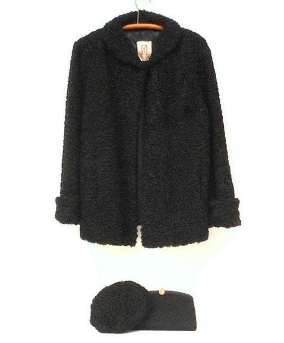 Curly Persian Wool Black Jacket Coat and Matching Hat by Goodmans of Chicago Furs Size Medium 1940s 1950s and Clutch Bag