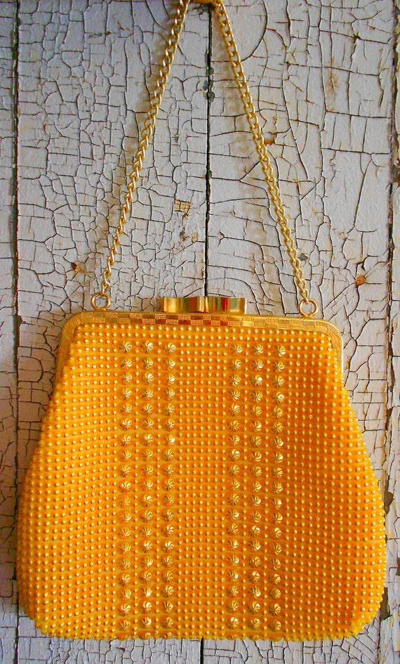 Vintage 1950's Yellow & Gold Beaded Evening Bag