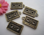 4 pcs Antique Bronze Cassette Tape Charm Pendant Vintage Style 80's trinket