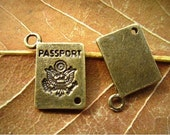 4 pc Antique Bronze Passport Travel Charm Vintage Victorian Style Pendant