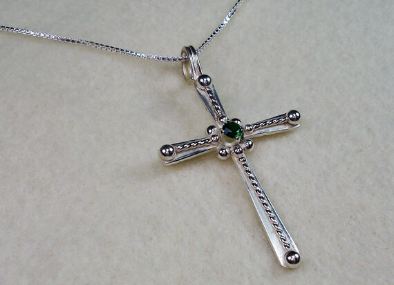 Religious Cross with 3mm Cubic Zirconia CZ Emerald Birthstones and Pearls Necklace Made in Sterling Silver and 14kt Gold Filled