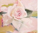 Delicate , Pale Pink Rose  ,Romantic COTTAGE STYLE . Oil painting ready to display . Small Contemporary Wall Art