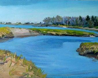 "A symphony in blues...Oil Painting, Early Spring Marsh,  Biddeford Pool"" original, landscape. Maine Art by Adrienne Kernan LaVallee"